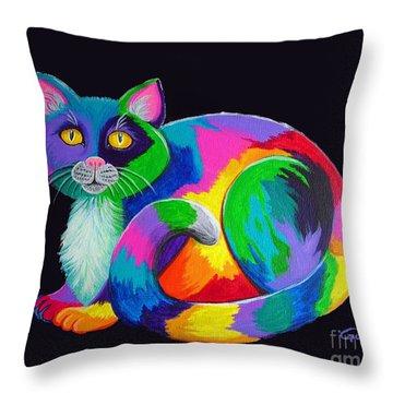 Rainbow Calico Throw Pillow