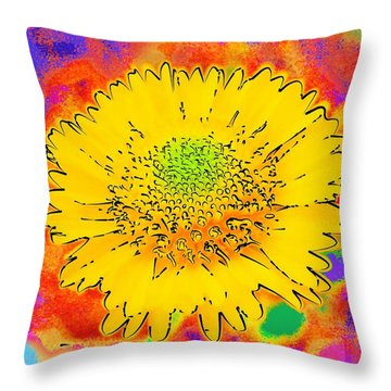 Rainbow Colored Sunshine Flower- Because I'm Happy Throw Pillow by David Mckinney