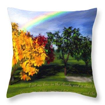 Rainbow Covenant Genesis Throw Pillow