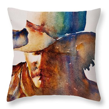 Throw Pillow featuring the painting Rainbow Cowboy by Jani Freimann