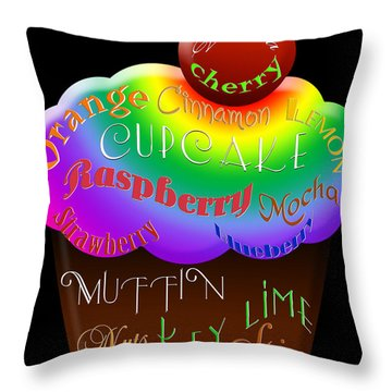 Rainbow Cupcake Typography Throw Pillow by Andee Design