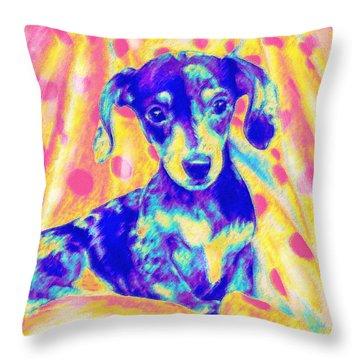 Rainbow Dachshund Throw Pillow by Jane Schnetlage