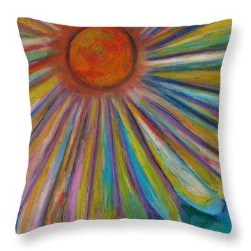 Rainbow Daisies Throw Pillow