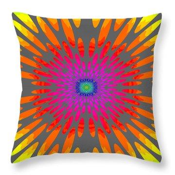 Rainbow Daisy Mandala  C2014  Throw Pillow by Paul Ashby