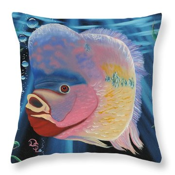 Rainbow Devil Fish Throw Pillow