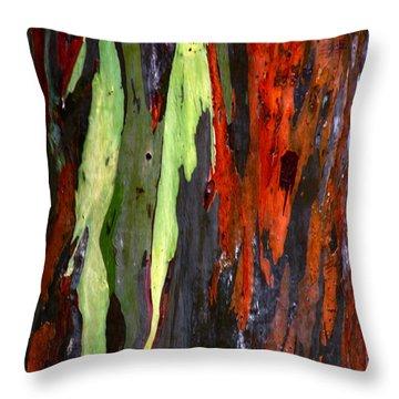 Throw Pillow featuring the photograph Rainbow Eucalyptus Tree by Myrna Bradshaw