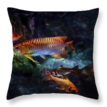 Rainbow Exotic Fish Throw Pillow by Jani Bryson