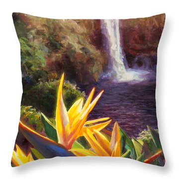 Rainbow Falls Big Island Hawaii Waterfall  Throw Pillow