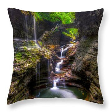 Rainbow Falls Of Watkins Glen Throw Pillow by Mark Papke