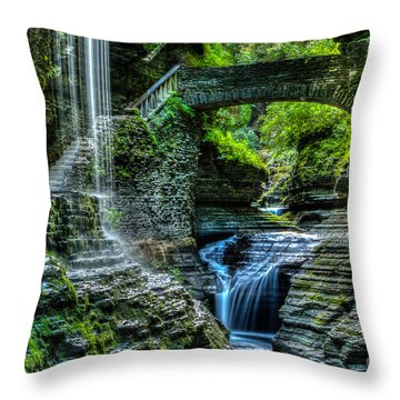 Rainbow Falls Watkins Glen Throw Pillow