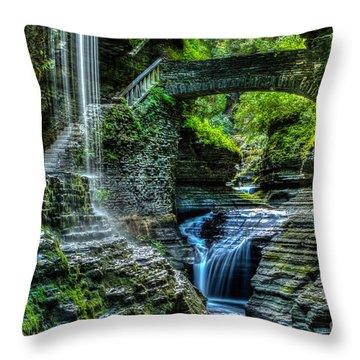 Rainbow Falls Watkins Glen Throw Pillow