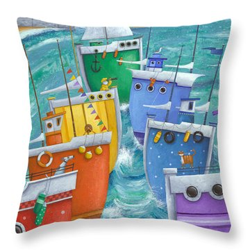Rainbow Flotilla Throw Pillow