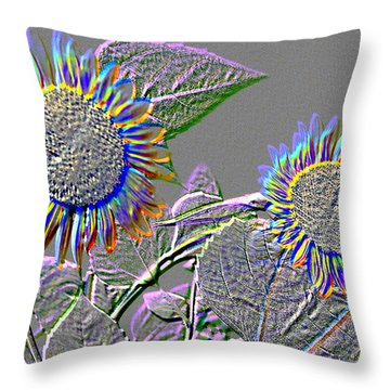 Rainbow Flower Throw Pillow by Tom Wurl