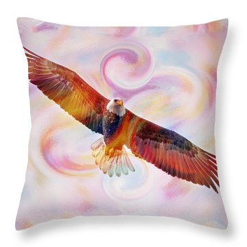 Rainbow Flying Eagle Watercolor Painting Throw Pillow