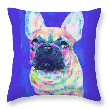 Throw Pillow featuring the digital art Rainbow French Bulldog by Jane Schnetlage