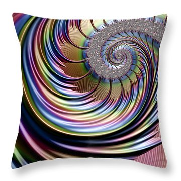 Rainbow Fronds Throw Pillow