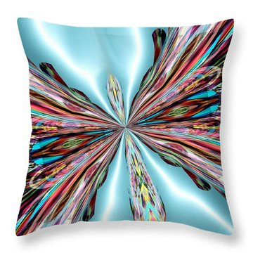 Rainbow Glass Butterfly On Blue Satin Throw Pillow by Maria Urso