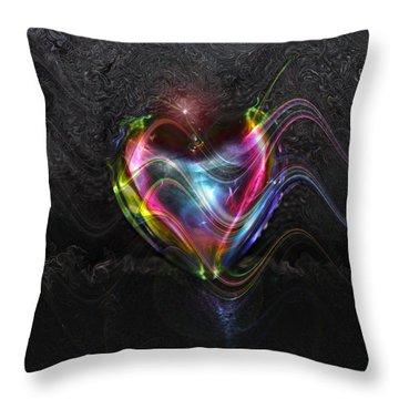 Rainbow Heart Throw Pillow by Linda Sannuti
