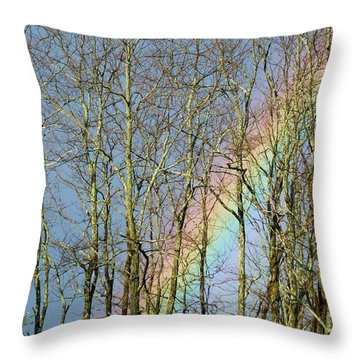 Throw Pillow featuring the photograph Rainbow Hiding Behind The Trees by Kristen Fox