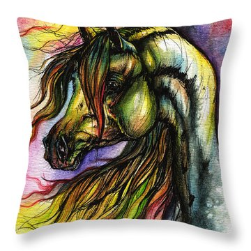 Rainbow Horse 2 Throw Pillow by Angel  Tarantella