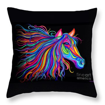Rainbow Horse Too Throw Pillow by Nick Gustafson