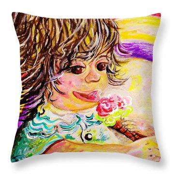Rainbow Ice Cream Throw Pillow by Eloise Schneider