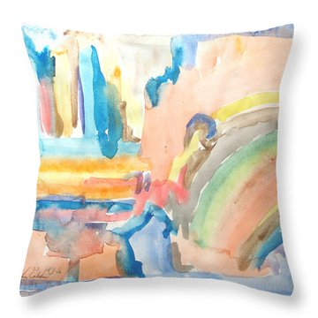 Rainbow In A Box Throw Pillow by Esther Newman-Cohen