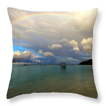 Rainbow In The Seychelles Throw Pillow by Tim Holt