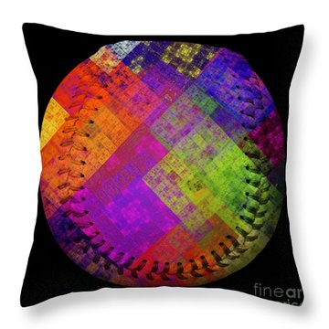 Rainbow Infusion Baseball Square Throw Pillow by Andee Design