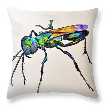 Rainbow Insect Throw Pillow by Dion Dior