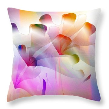 Rainbow Irises Throw Pillow by Iris Gelbart