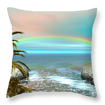 Throw Pillow featuring the digital art Rainbow by Jacqueline Lloyd