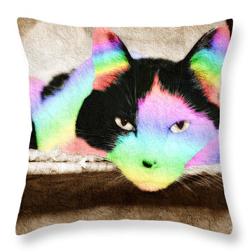 Rainbow Kitty Abstract Throw Pillow by Andee Design