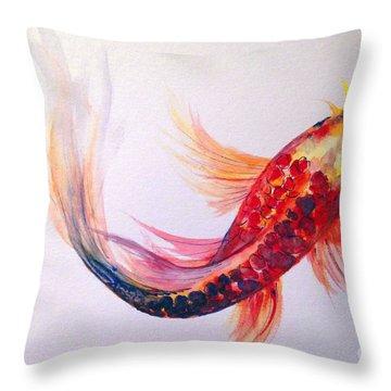 Rainbow Koi Throw Pillow