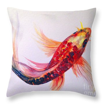 Throw Pillow featuring the painting Rainbow Koi by Lauren Heller