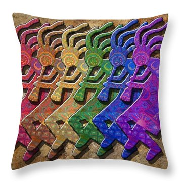 Rainbow Kokopellis Throw Pillow