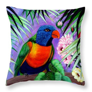 Throw Pillow featuring the painting Rainbow Lorikeets. by Fram Cama