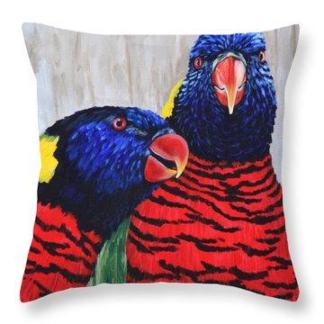 Throw Pillow featuring the painting Rainbow Lorikeets by Penny Birch-Williams