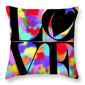 Rainbow Love In Black Throw Pillow