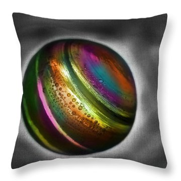 Rainbow Marble Throw Pillow by Marianna Mills