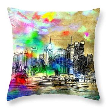 Rainbow Nyc Skyline Throw Pillow by Daniel Janda