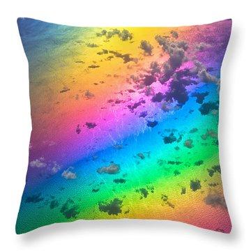Rainbow Ocean Throw Pillow by Eti Reid