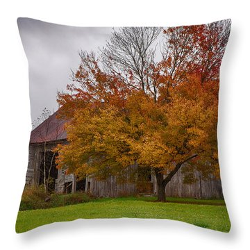 Throw Pillow featuring the photograph Rainbow Of Color In Front Of Nh Barn by Jeff Folger