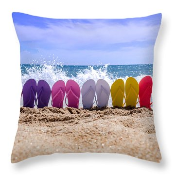 Rainbow Of Flip Flops On The Beach Throw Pillow by Teri Virbickis
