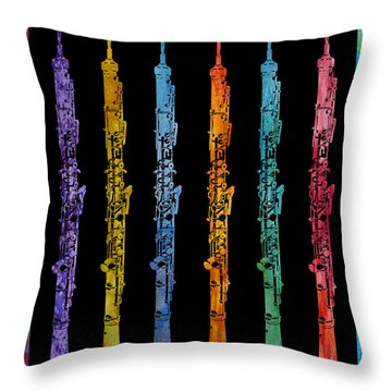 Rainbow Of Oboes Throw Pillow