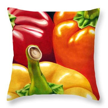 Rainbow Of Peppers Throw Pillow