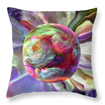 Rainbow Of Roses Throw Pillow by Robin Moline