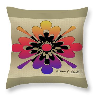 Rainbow On Gold Floral Design Throw Pillow