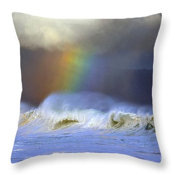 Throw Pillow featuring the photograph Rainbow On The Banzai Pipeline At The North Shore Of Oahu by Aloha Art