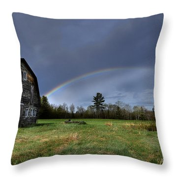 Rainbow On The Farm Throw Pillow by Alana Ranney